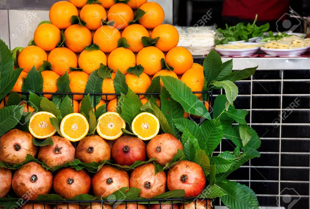 Pile Of Fresh Oranges On Display At Street Juice Shack Istanbul Turkey Stock Photo