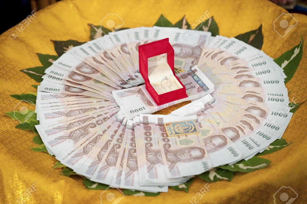 Wedding ring in a red box and Thai money for the bride - 18775720