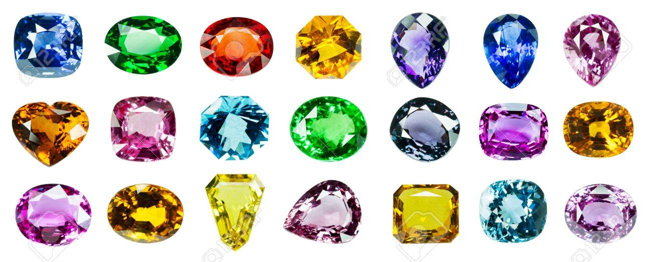 Bright gems on a white background Stock Photo - 21965446