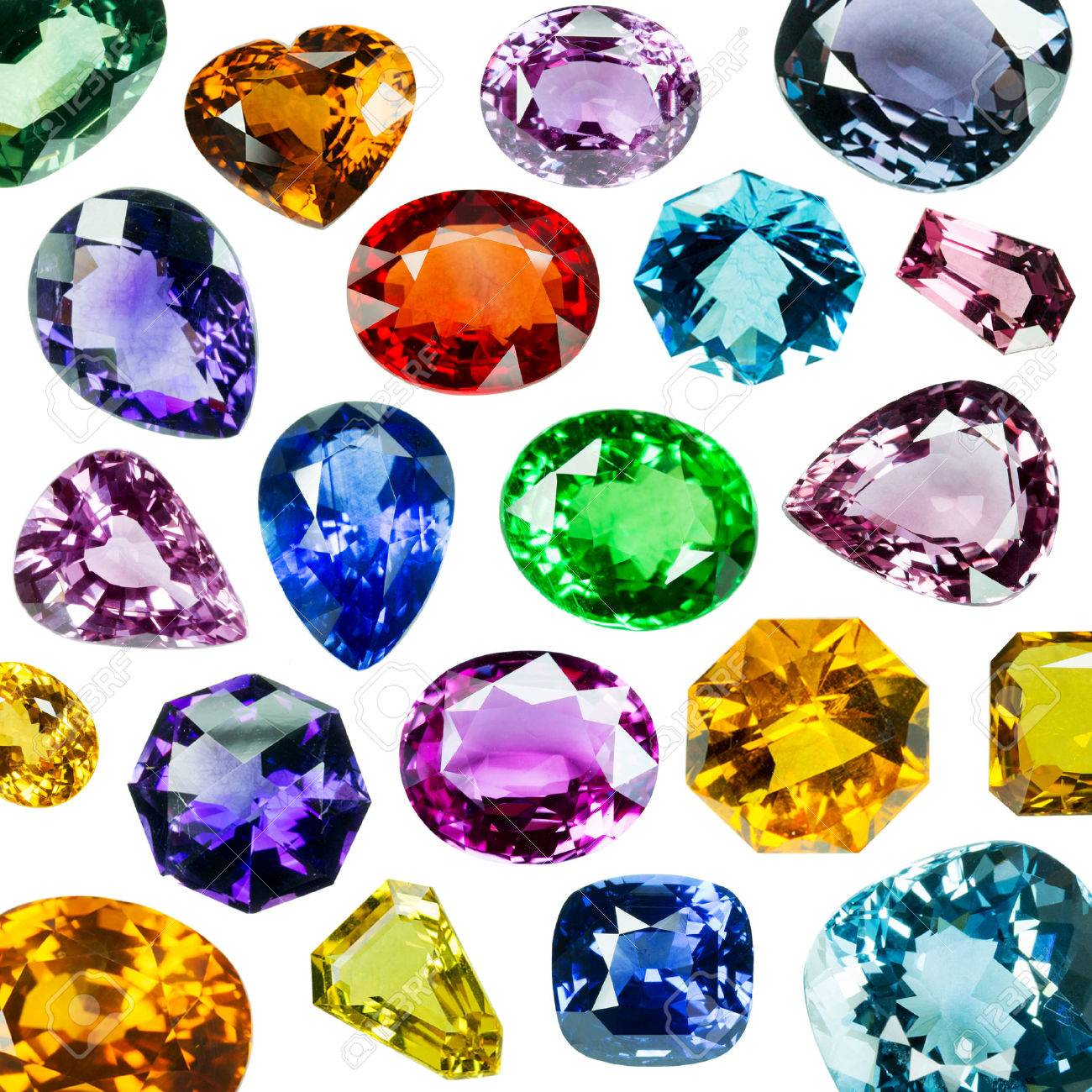 Bright gems isolated on white background Stock Photo - 24295244