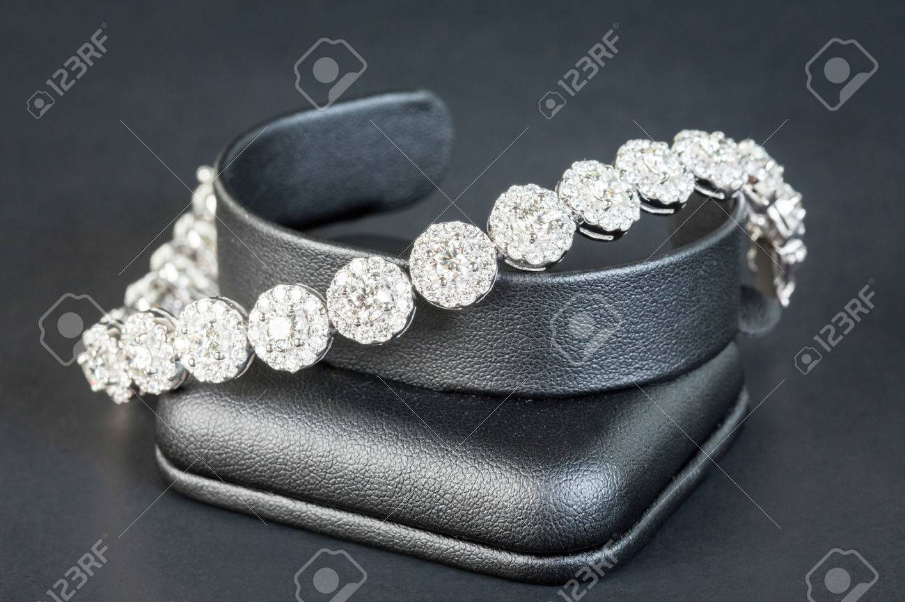 Diamonds bracelet in black background Stock Photo - 26306495