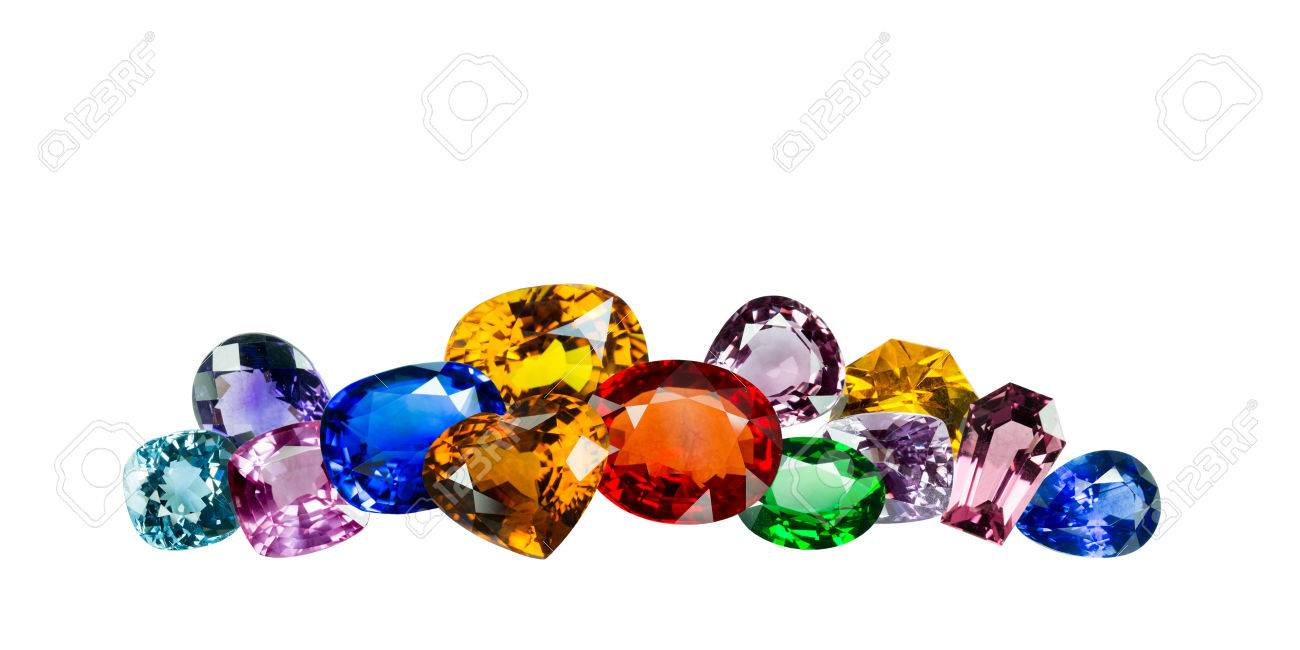Bright gems on a white background Stock Photo - 26306600