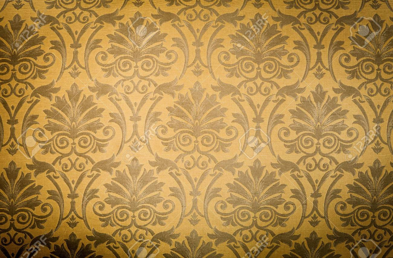 Cool Retro Floral Wallpaper In Tan And Brown Design Stock Photo