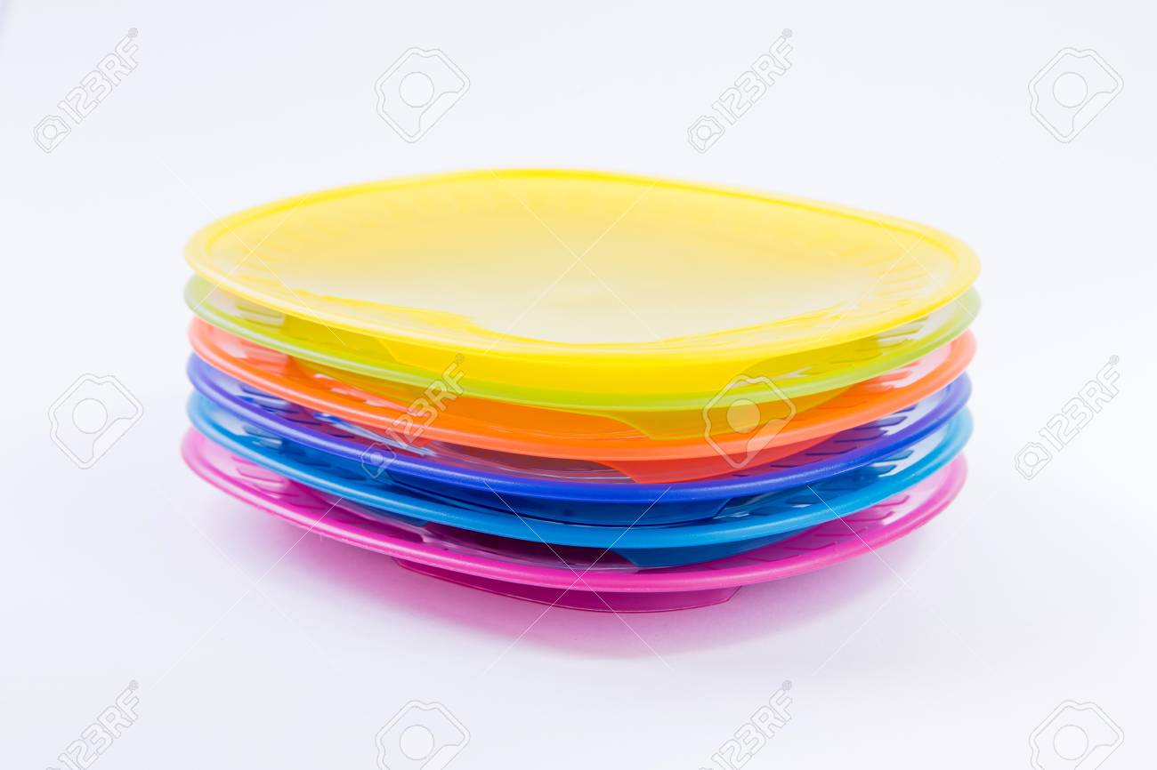 Colorful plastic plates closeup isolated on white background Stock Photo - 46377028 & Colorful Plastic Plates Closeup Isolated On White Background Stock ...