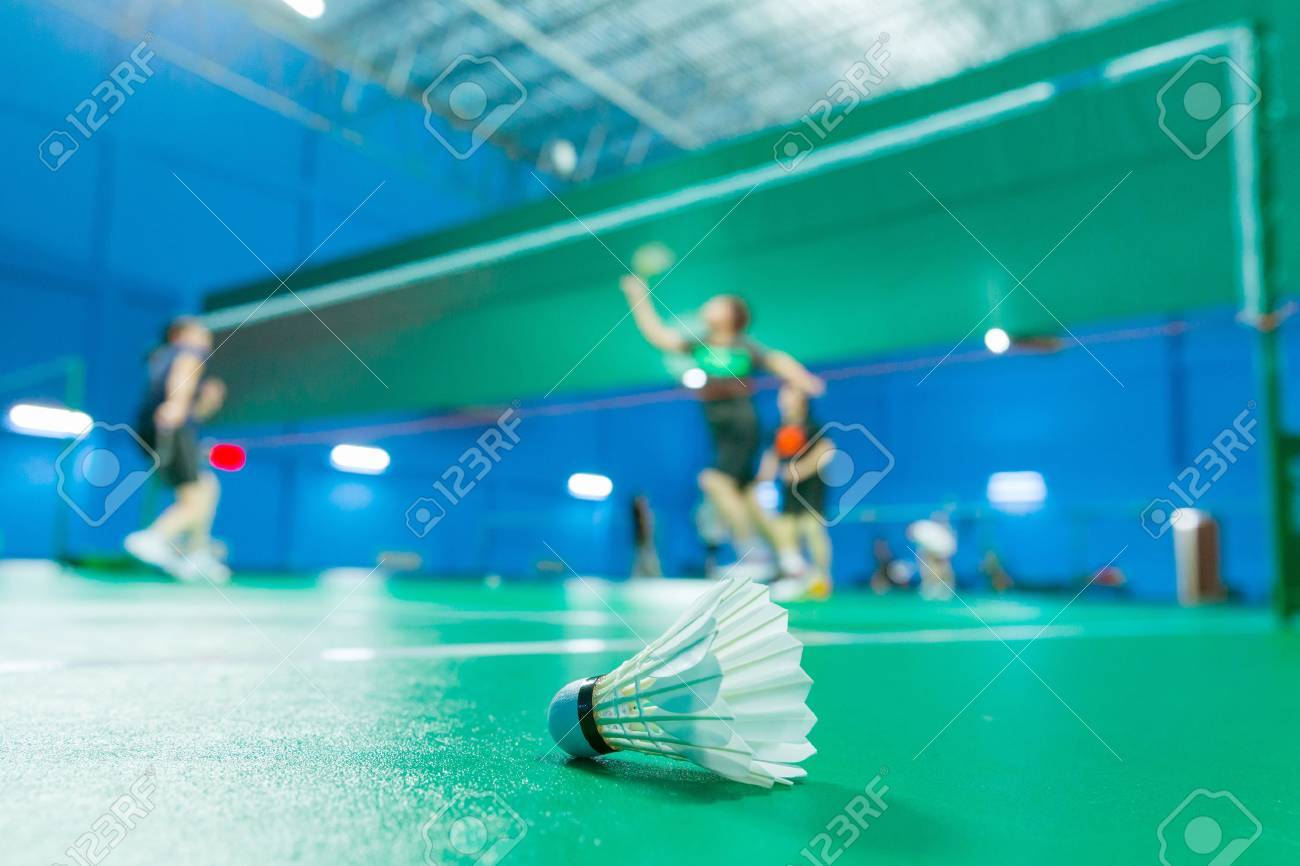 badminton - badminton courts with players competing Stock Photo - 46377063