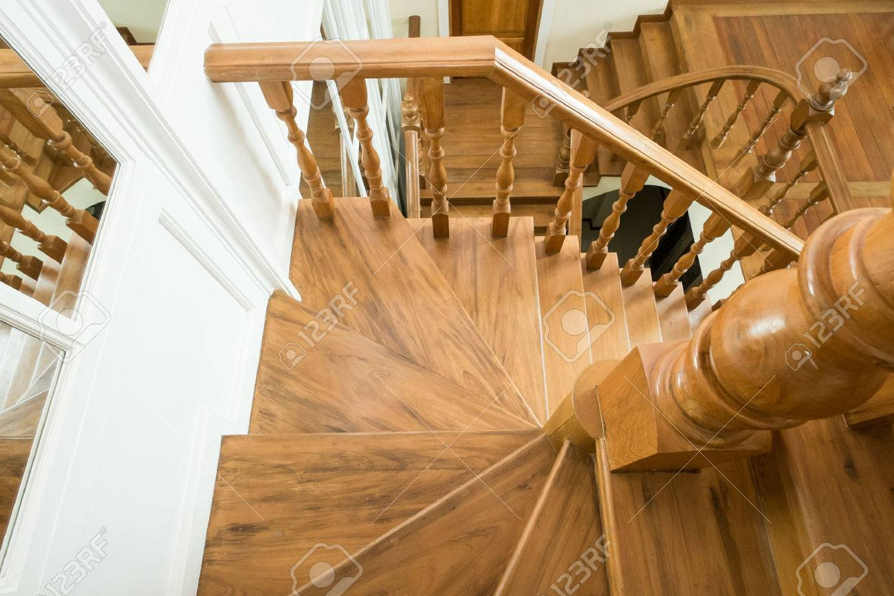 classic wooden staircase in luxury home entrance hall Stock Photo - 46377239
