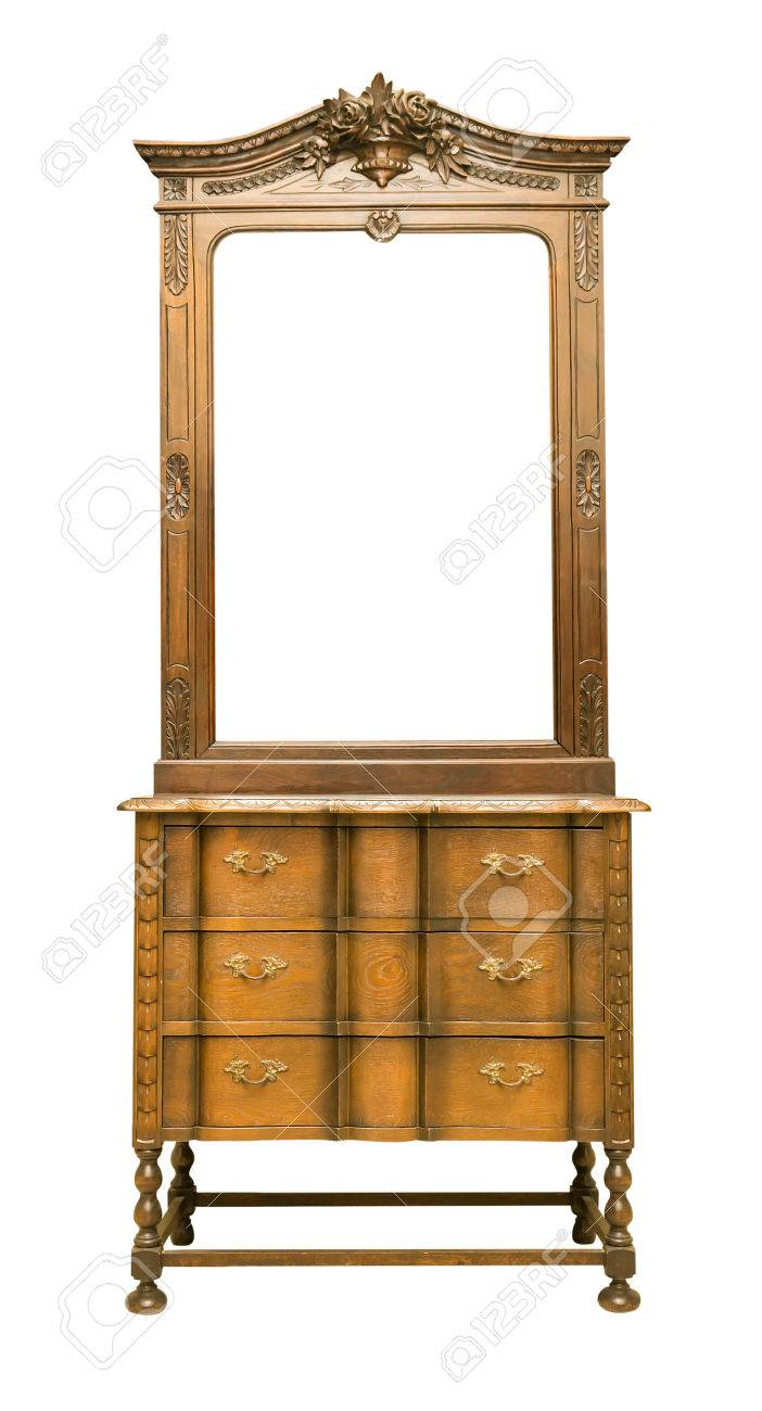 Antique dressing table with mirror - Antique Dressing Table With Wood Frame Mirror Isolated On White Background Stock Photo 53277221