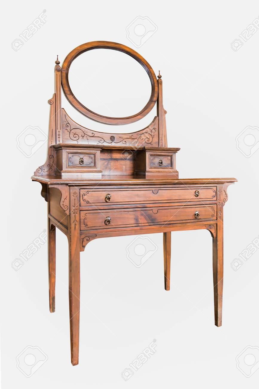 finest selection e32bc 845e2 Antique Dressing Table with wood frame Mirror isolated on white..