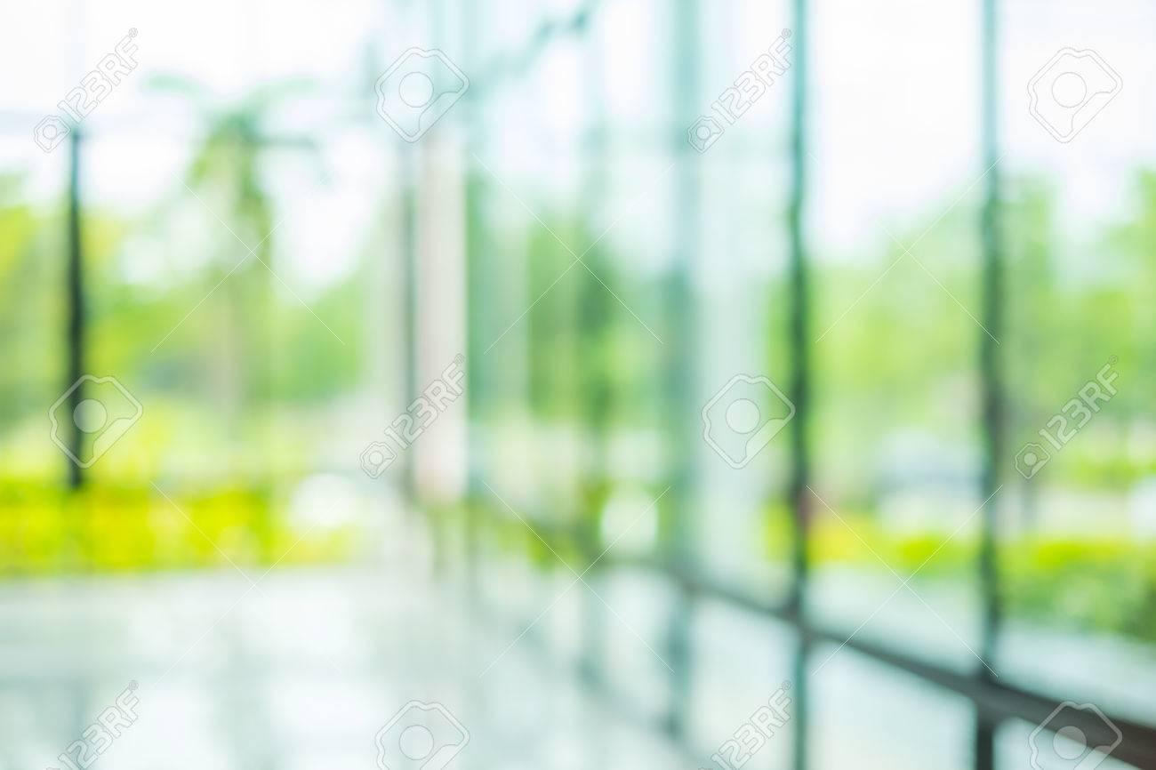 Blur Inside Office Building With Bokeh Light Background Stock