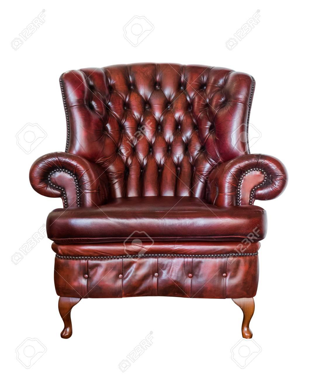 Red Vintage Armchair Isolated On White Background Stock Photo