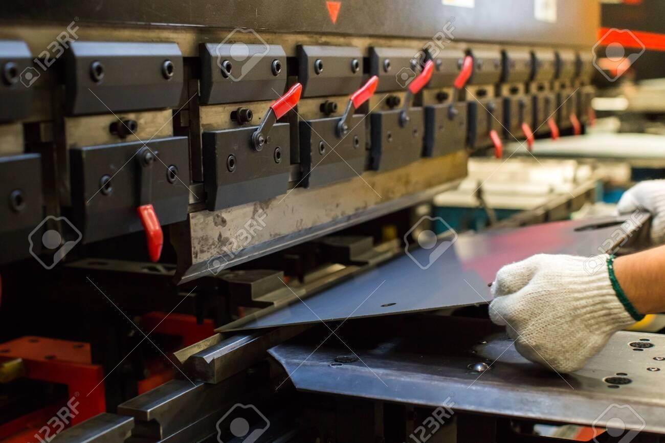 Sheet metal bending in factory - 152511167