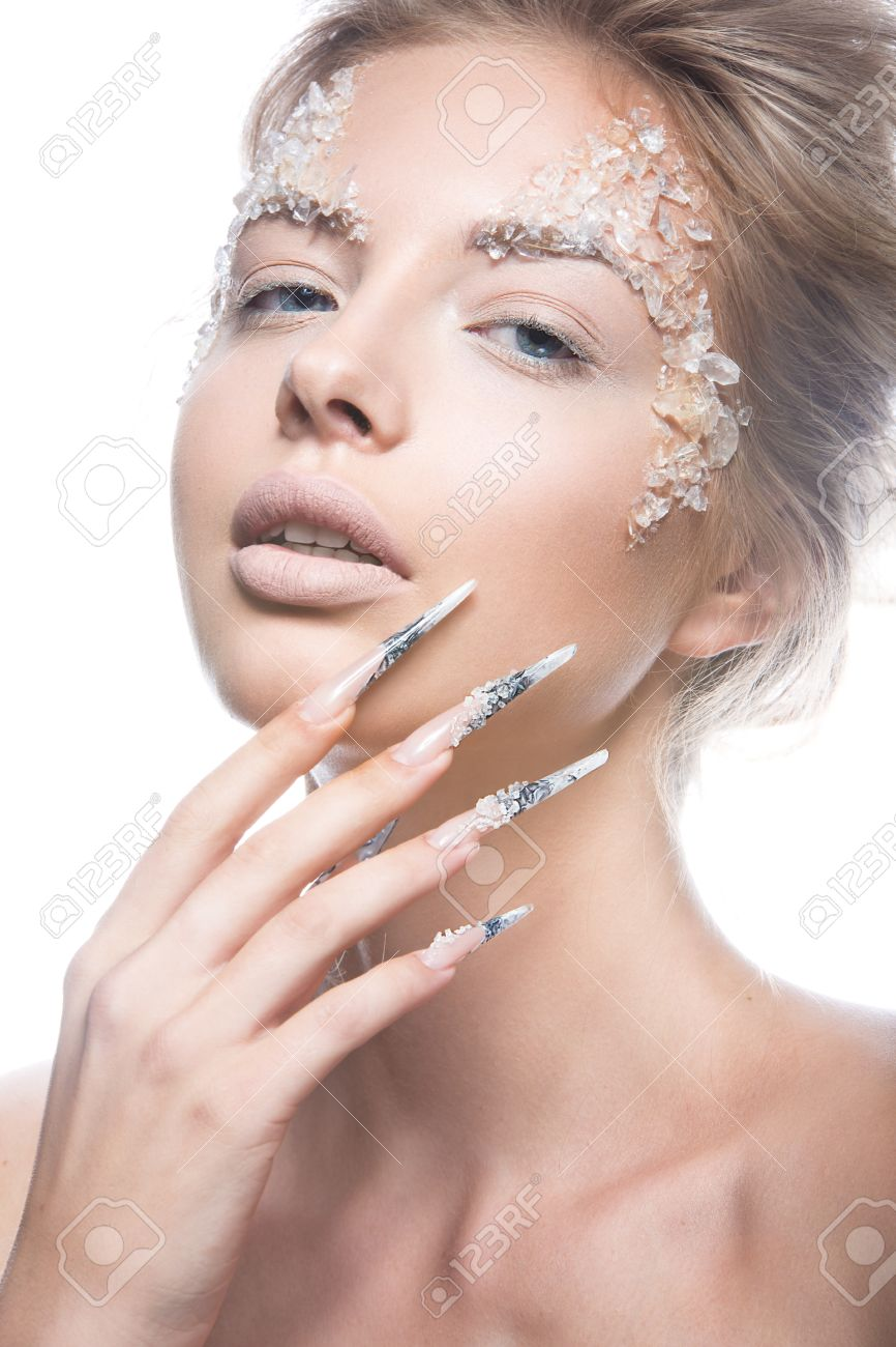 Beautiful Fashion Model With Long Nails, Creative Makeup And ...