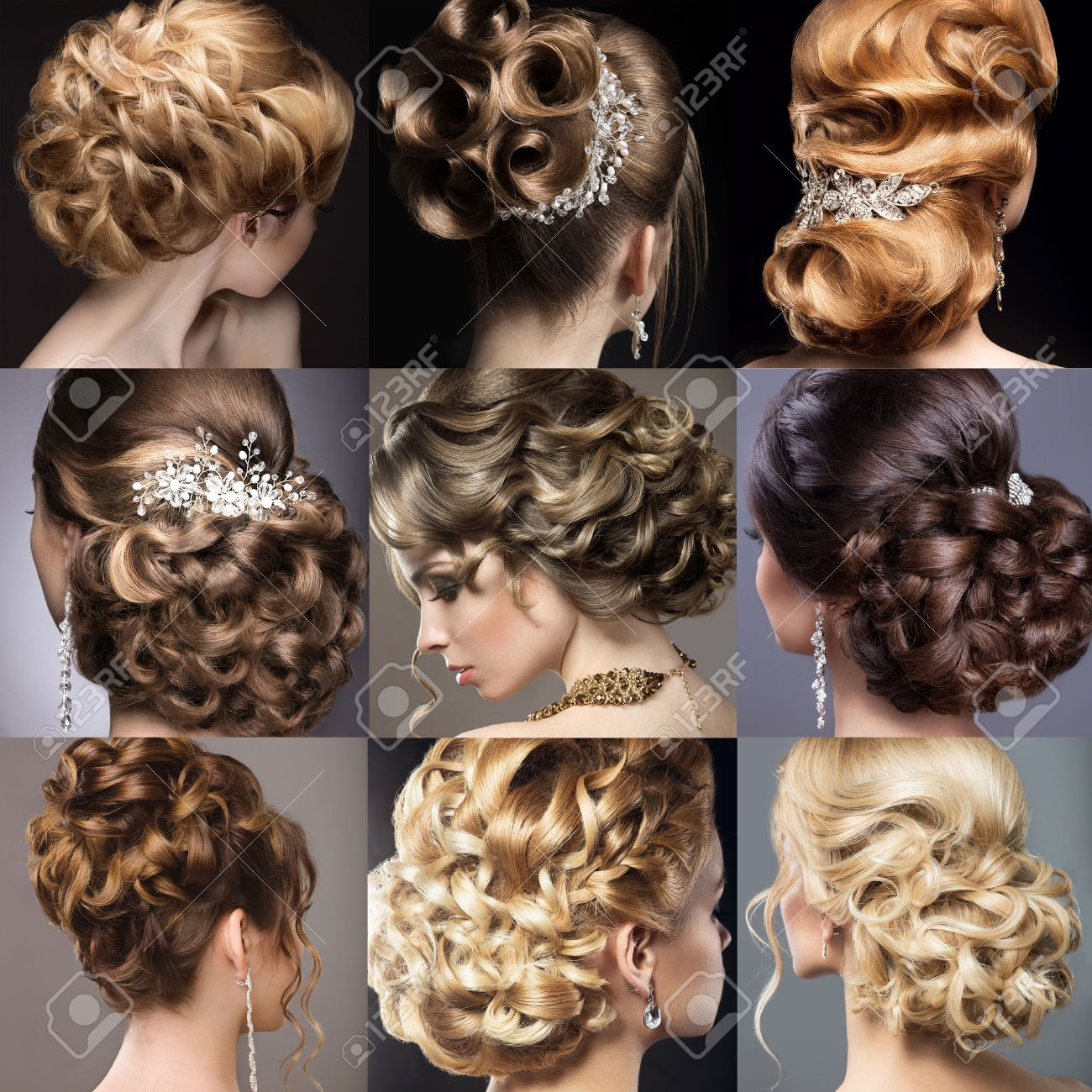 Collection of wedding hairstyles. Beautiful girls. Beauty hair. Photo taken in the studio. - 43817114
