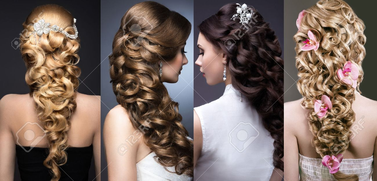 Collection of wedding hairstyles. Beautiful girls. Beauty hair. Photo taken in the studio. - 43076200