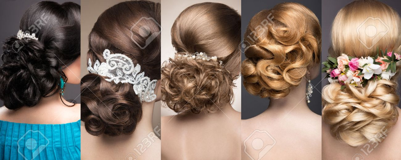 Collection of wedding hairstyles. Beautiful girls. Beauty hair. Photo taken in the studio. - 43076211
