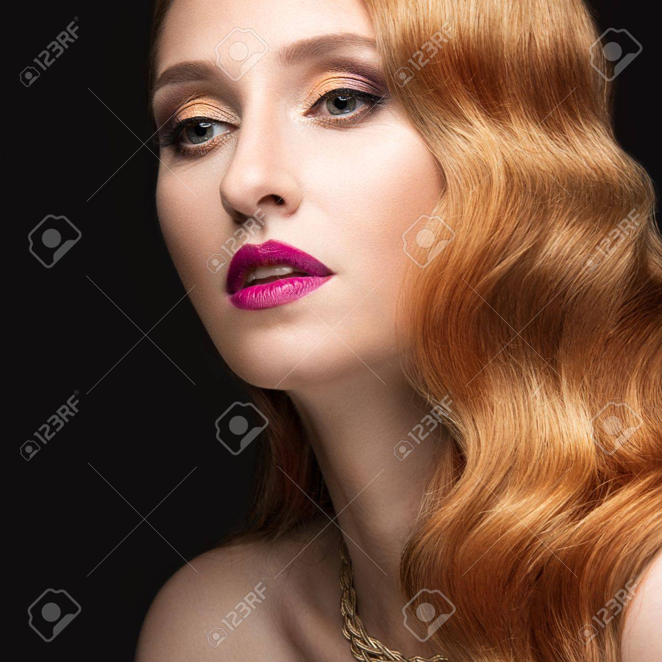 Beautiful Red Hair Woman With Evening Make Up Pink Lips And Stock