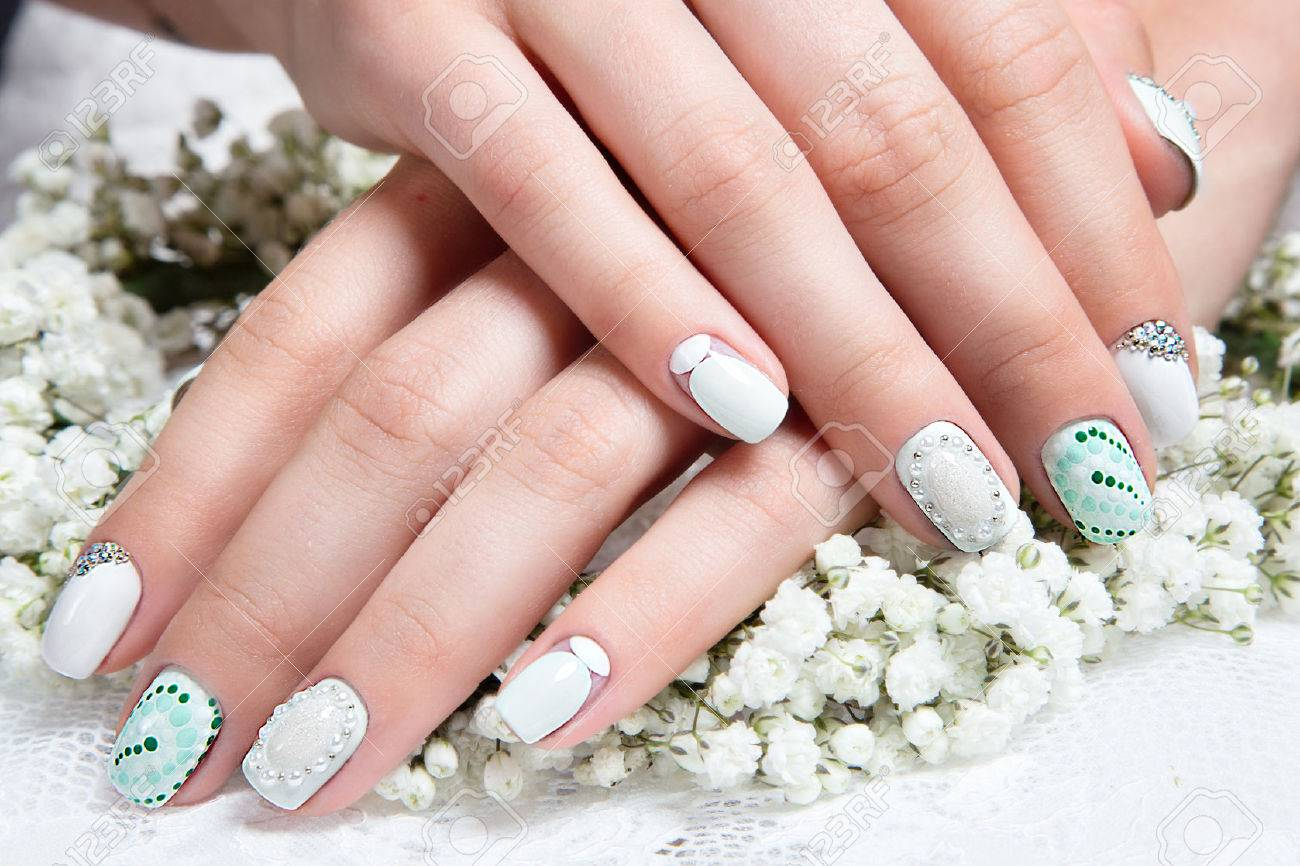 Wedding Manicure For The Bride In Gentle Tones With Flowers... Stock ...