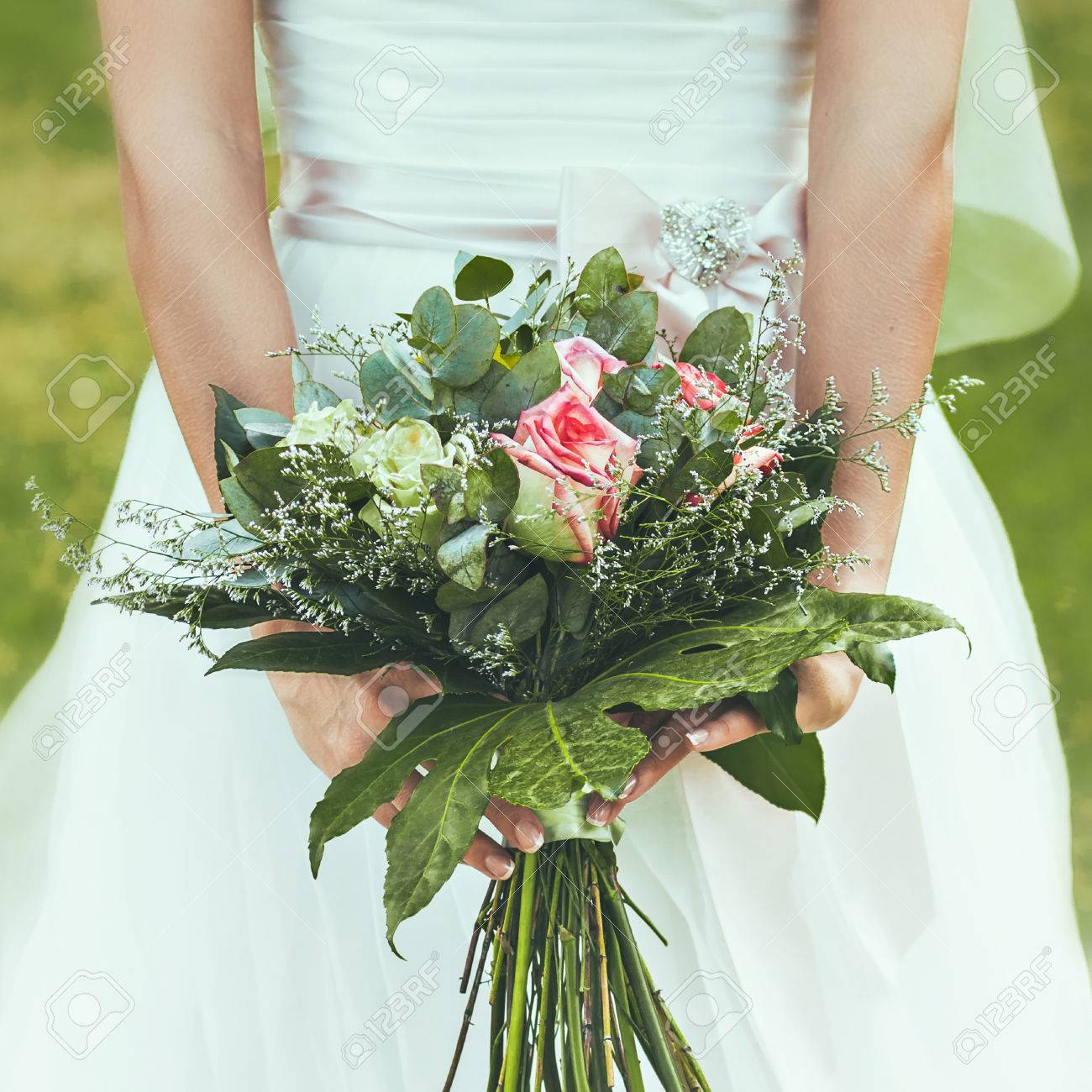 Wedding Bridal Bouquet. Flowers For The Newlyweds. Stock Photo ...