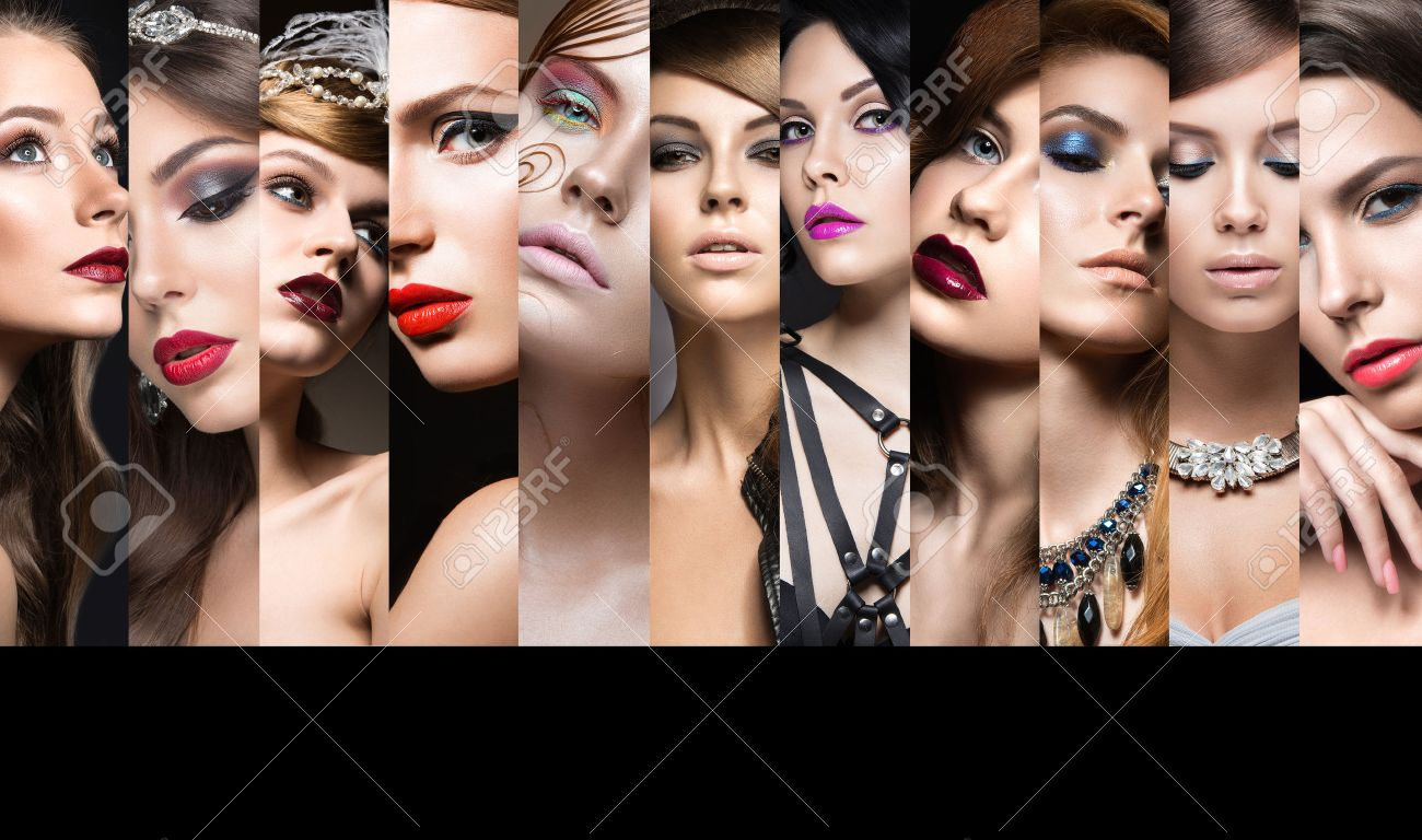 collection of evening makeup beautiful girls beauty face