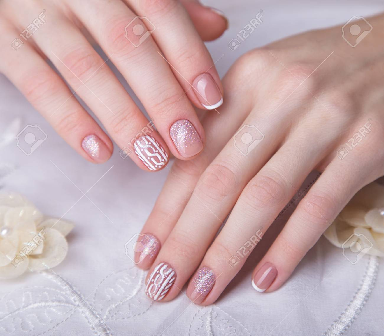 Snow White Manicure On Female Hands. Winter Nail Design. Picture ...