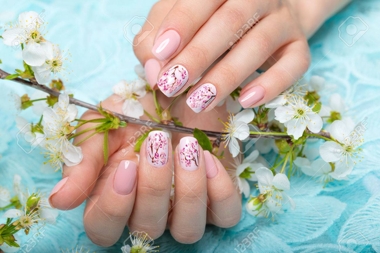 Spring manicure for the bride in gentle tones with flowers. Nail Design. - 56568971