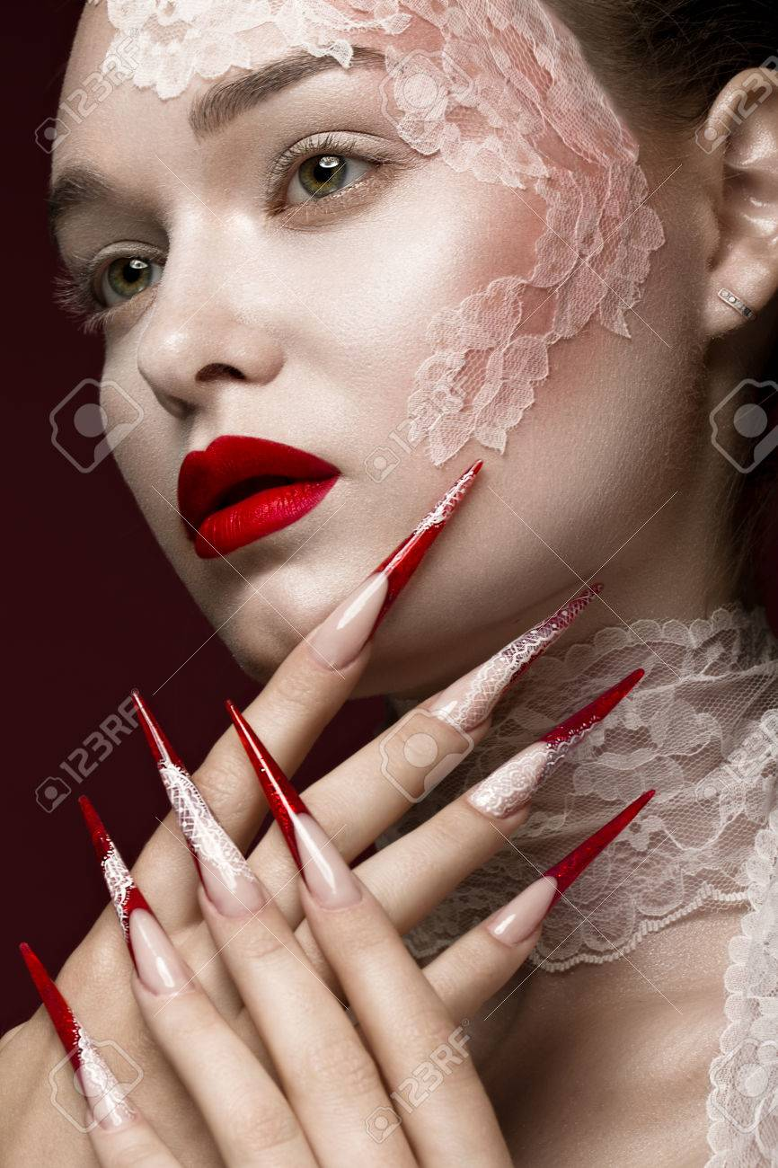 Beautiful Girl With Lace, Red Lips And Long Nails. Beauty Face ...