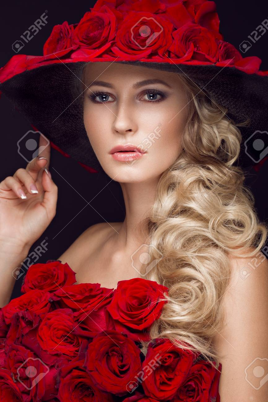 Beautiful blond with roses picture