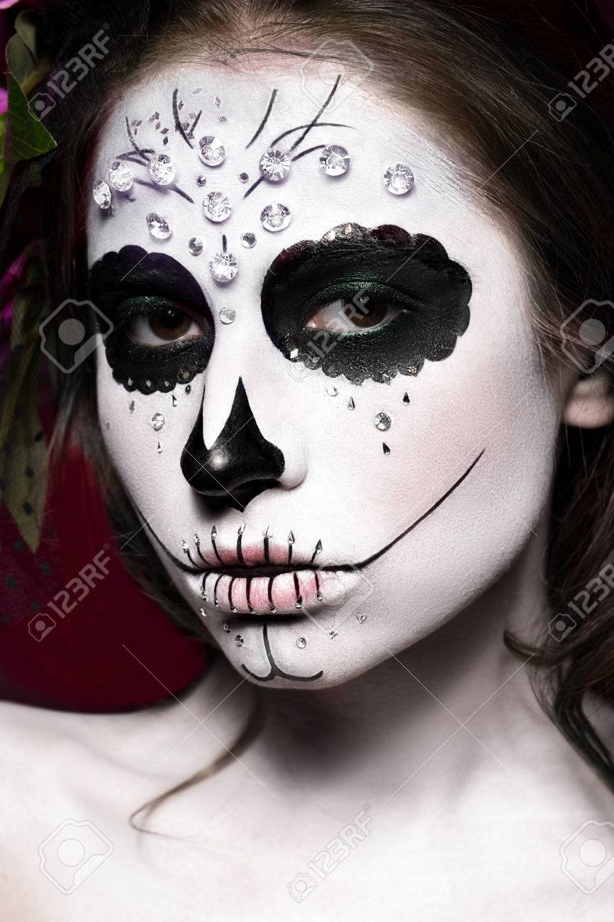 Woman In Halloween Makeup - Mexican Santa Muerte Mask. Photos ...