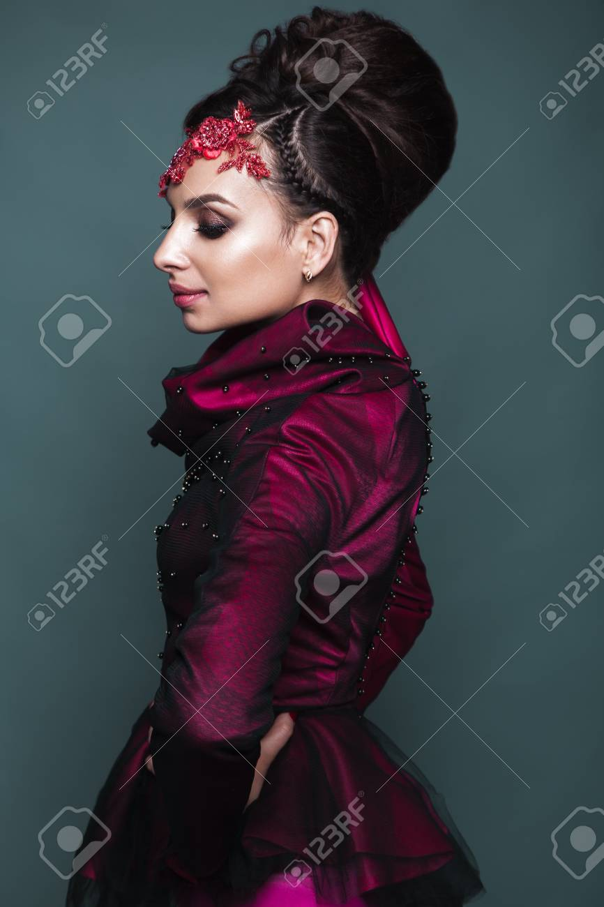 Beautiful Girl In Evening Dress With Avant-garde Hairstyles... Stock ...