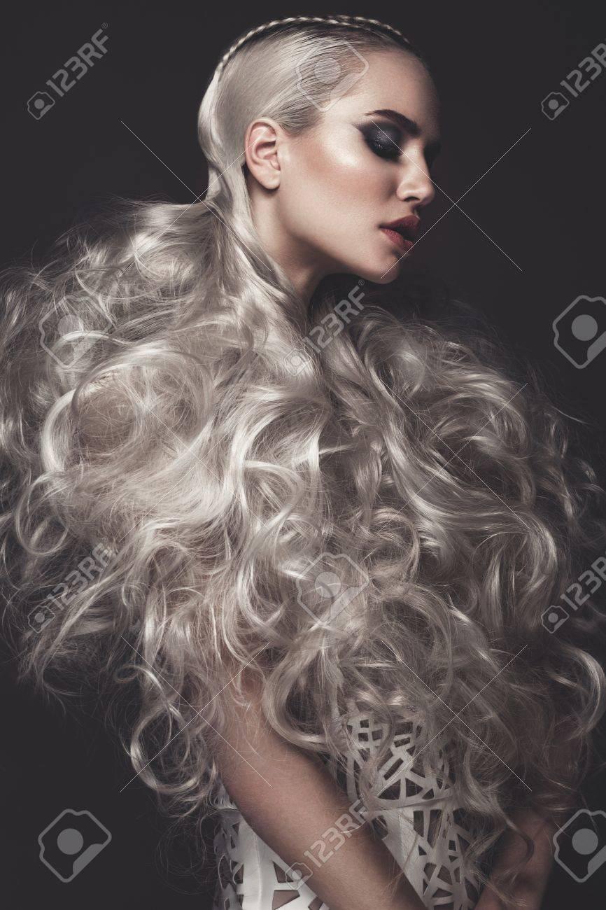 Beautiful Girl In Art Dress With Avant-garde Hairstyles. Beauty ...