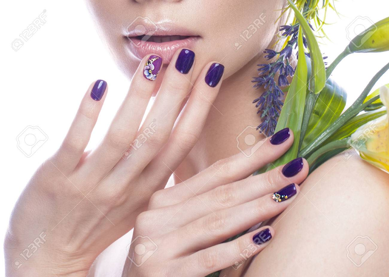 Beautiful Girl With Flowers And Design Nails Manicure Beauty