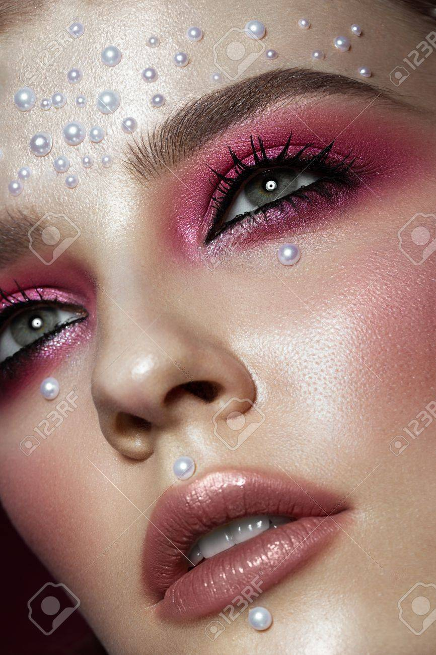 Beautiful Girl With Perfect Art Makeup And Pearl Beads Beauty Stock Photo Picture And Royalty Free Image Image 73999309