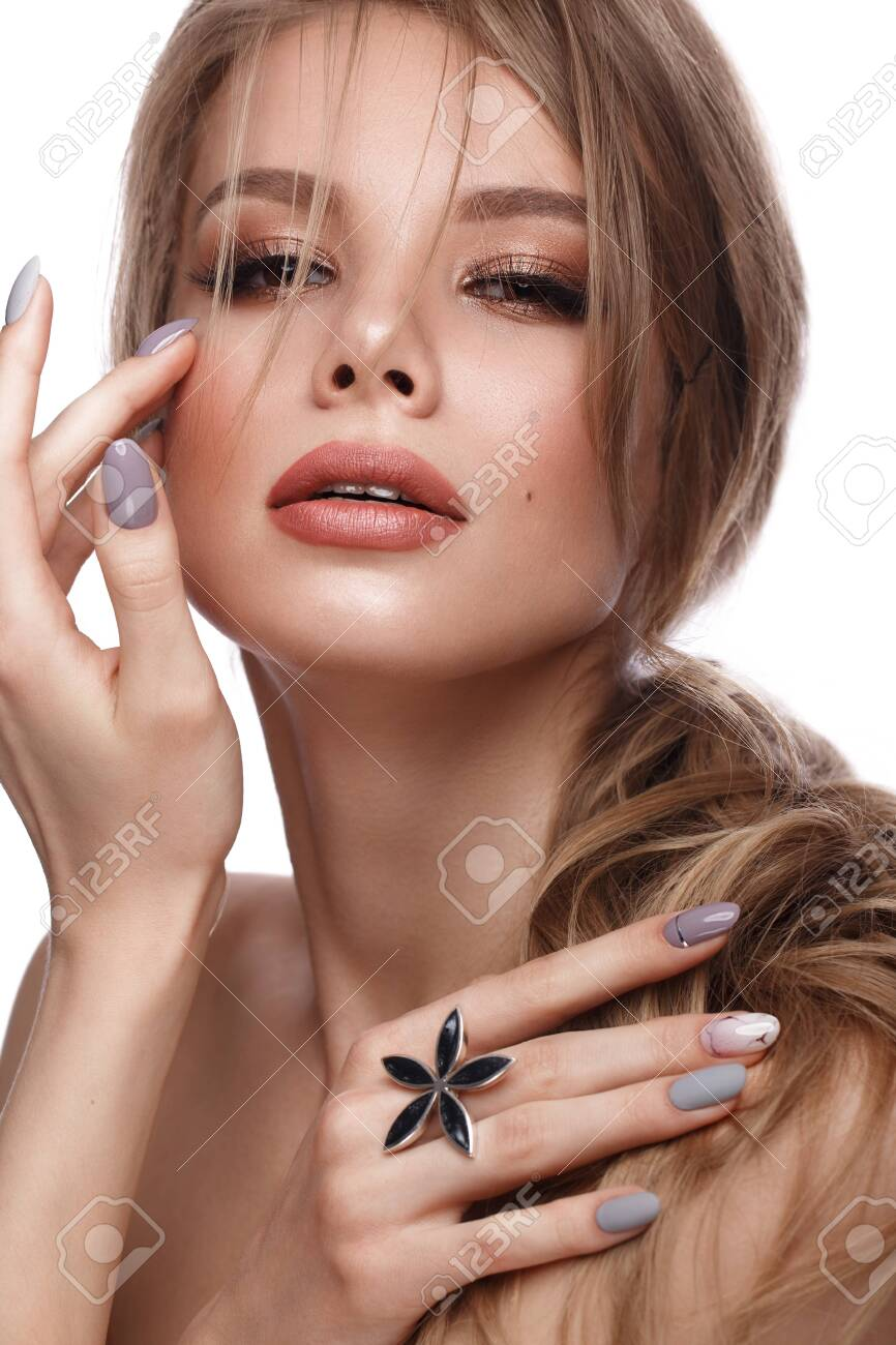 Pretty Girl With Easy Hairstyle Classic Makeup Nude Lips And Stock Photo Picture And Royalty Free Image Image 137549522