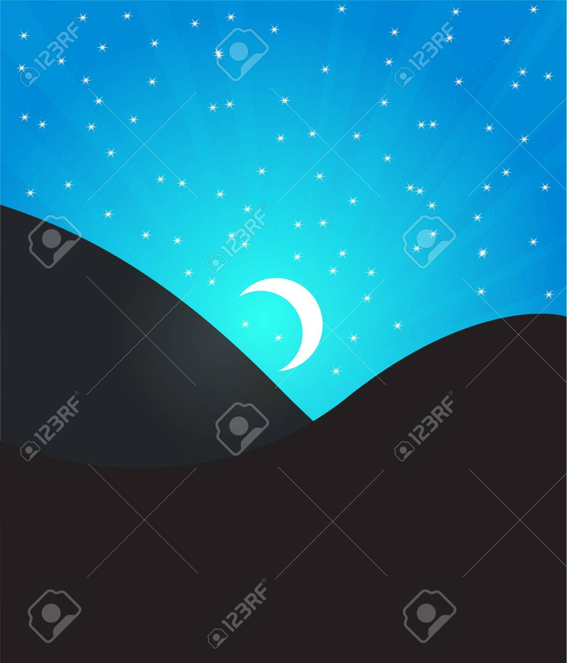 landscape with moon Stock Vector - 17321574