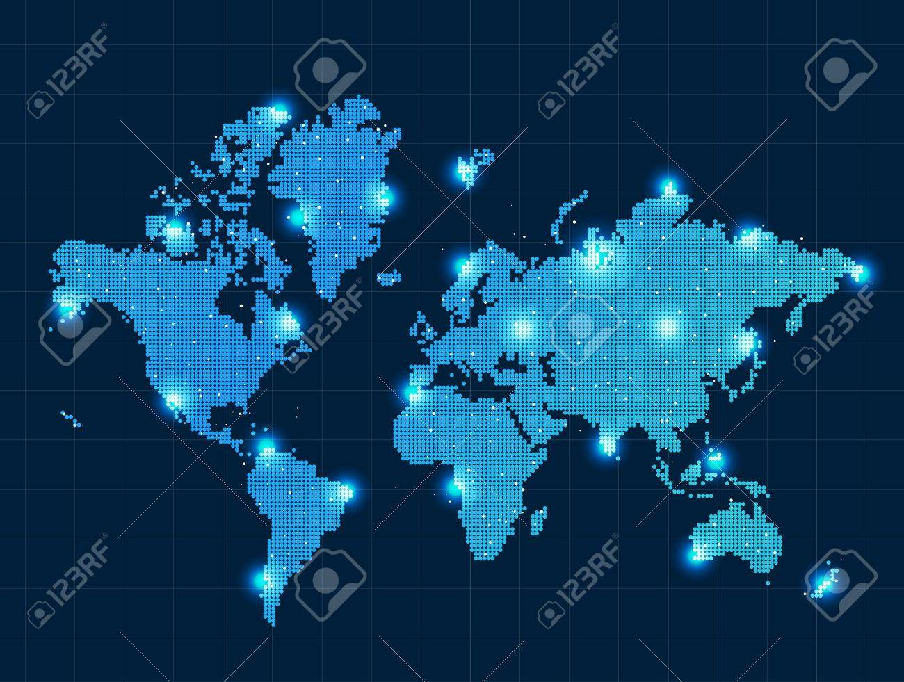 Pixel world map with spot lights royalty free cliparts vectors and pixel world map with spot lights stock vector 18552377 gumiabroncs Images
