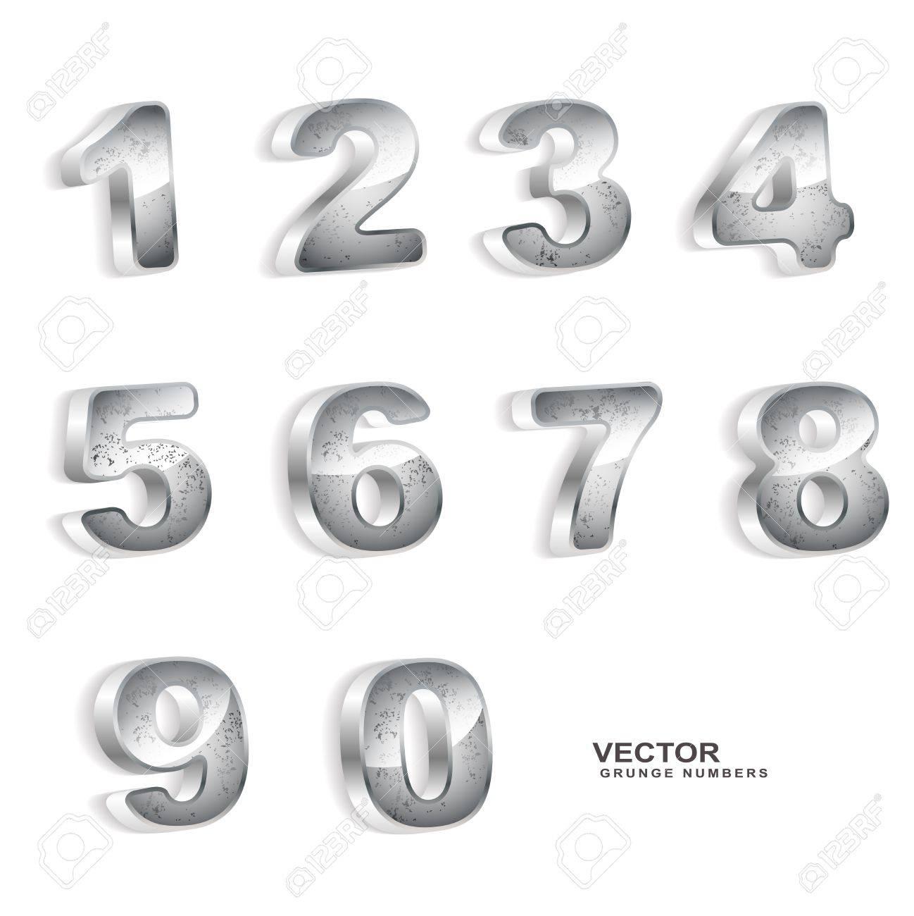 Metallic grunge 3D numbers Stock Vector - 20381406