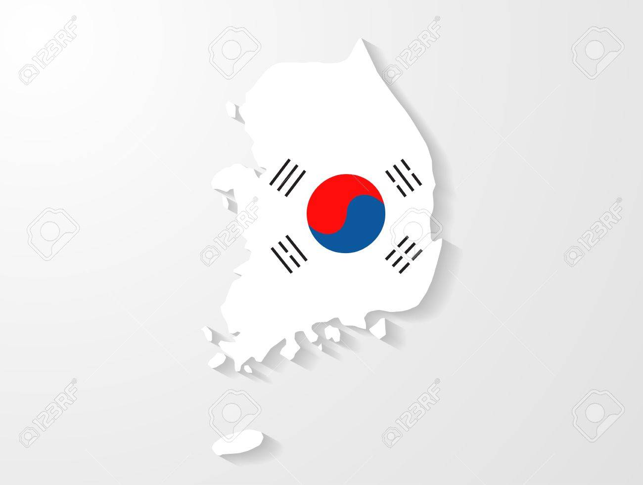South Korea map with shadow effect - 20381791