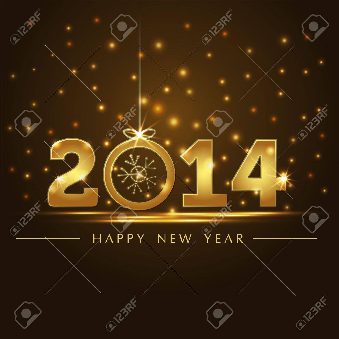 golden 2014 year card presentation - 22035600