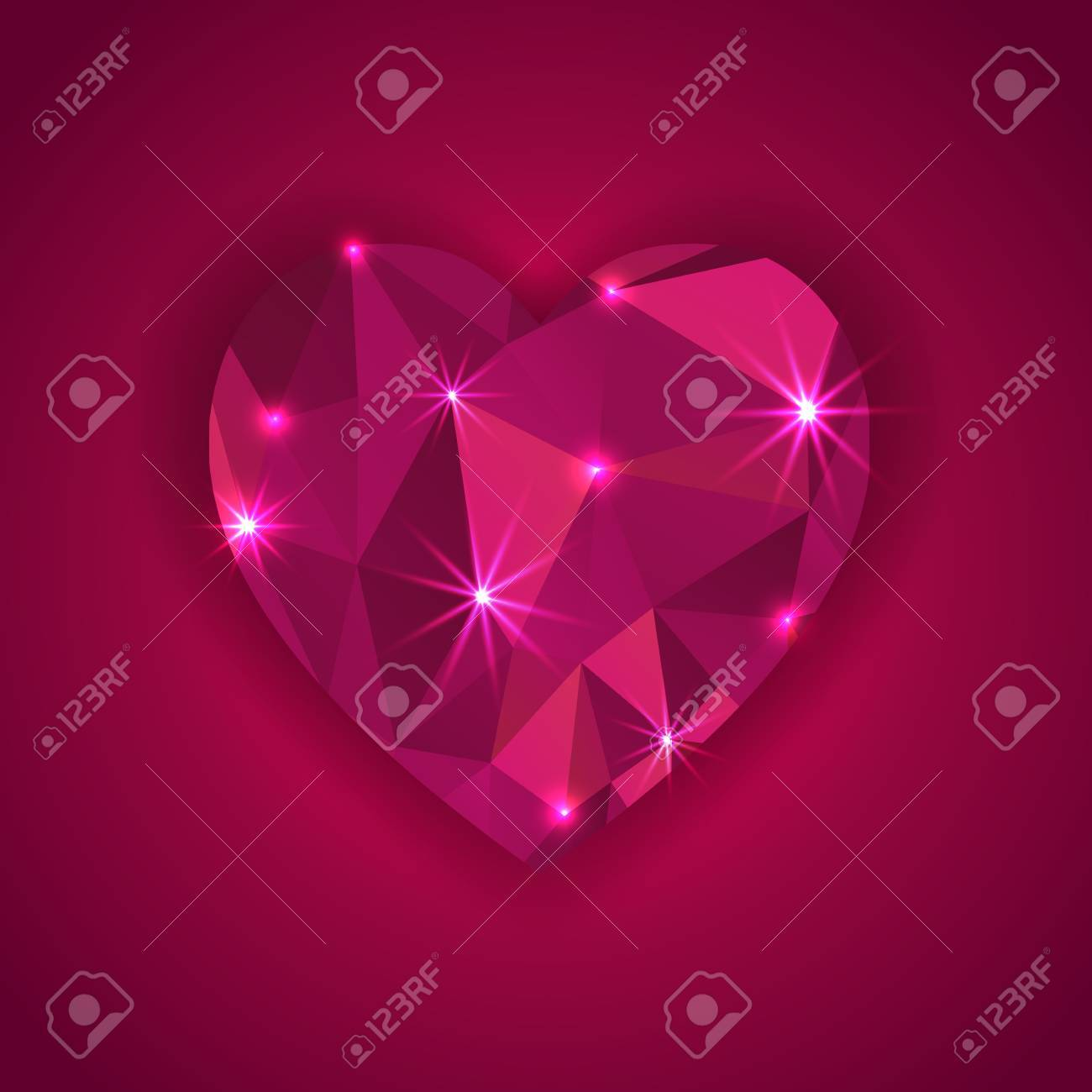 red diamond heart shape with star lights effect  greeting card Stock Vector - 24665759