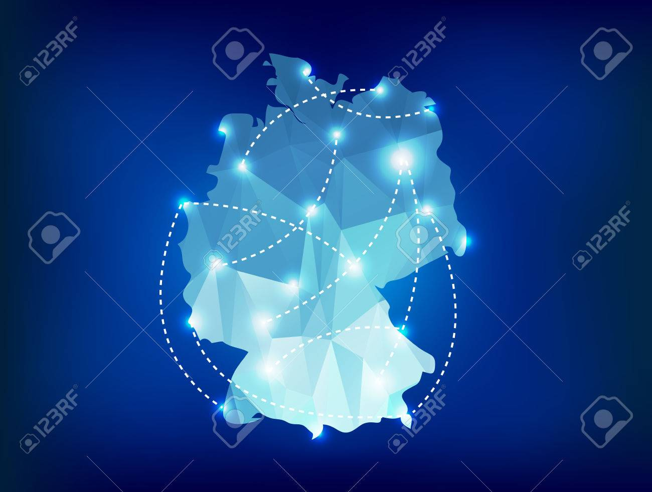 Germany country map polygonal with spot lights places - 26532488
