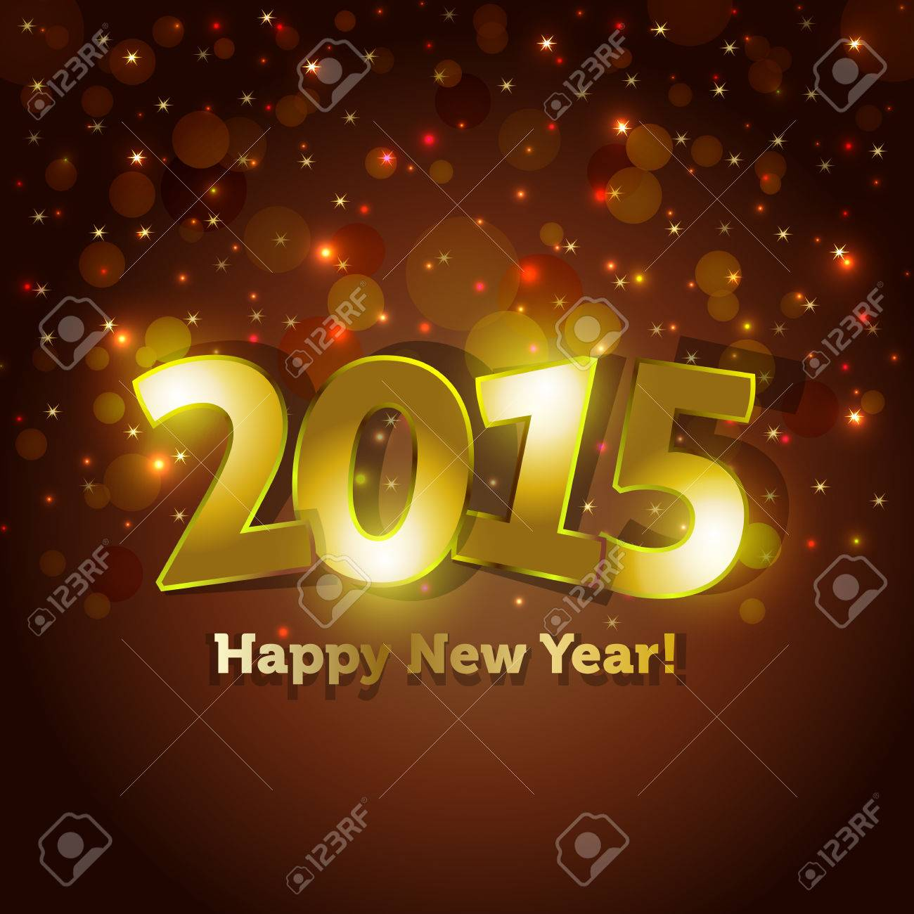 Golden 2015 Happy New Year Greeting Card With Sparking Spot Lights