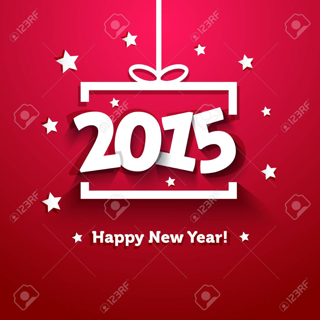 White paper gift box 2015 new year greeting card royalty free vector white paper gift box 2015 new year greeting card m4hsunfo