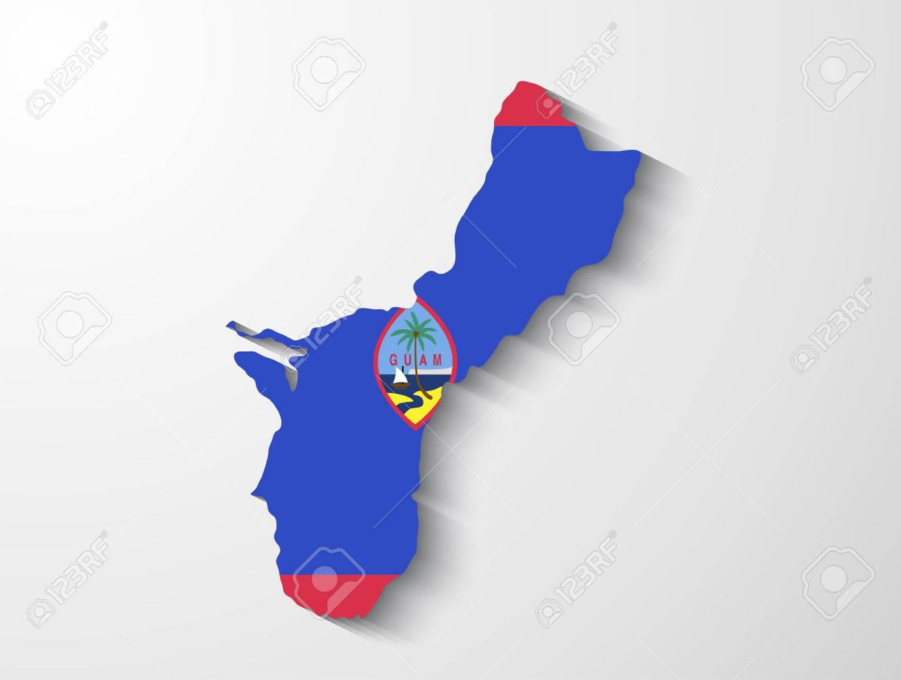 シャドウ効果のプレゼンテーションとグアムの国の地図