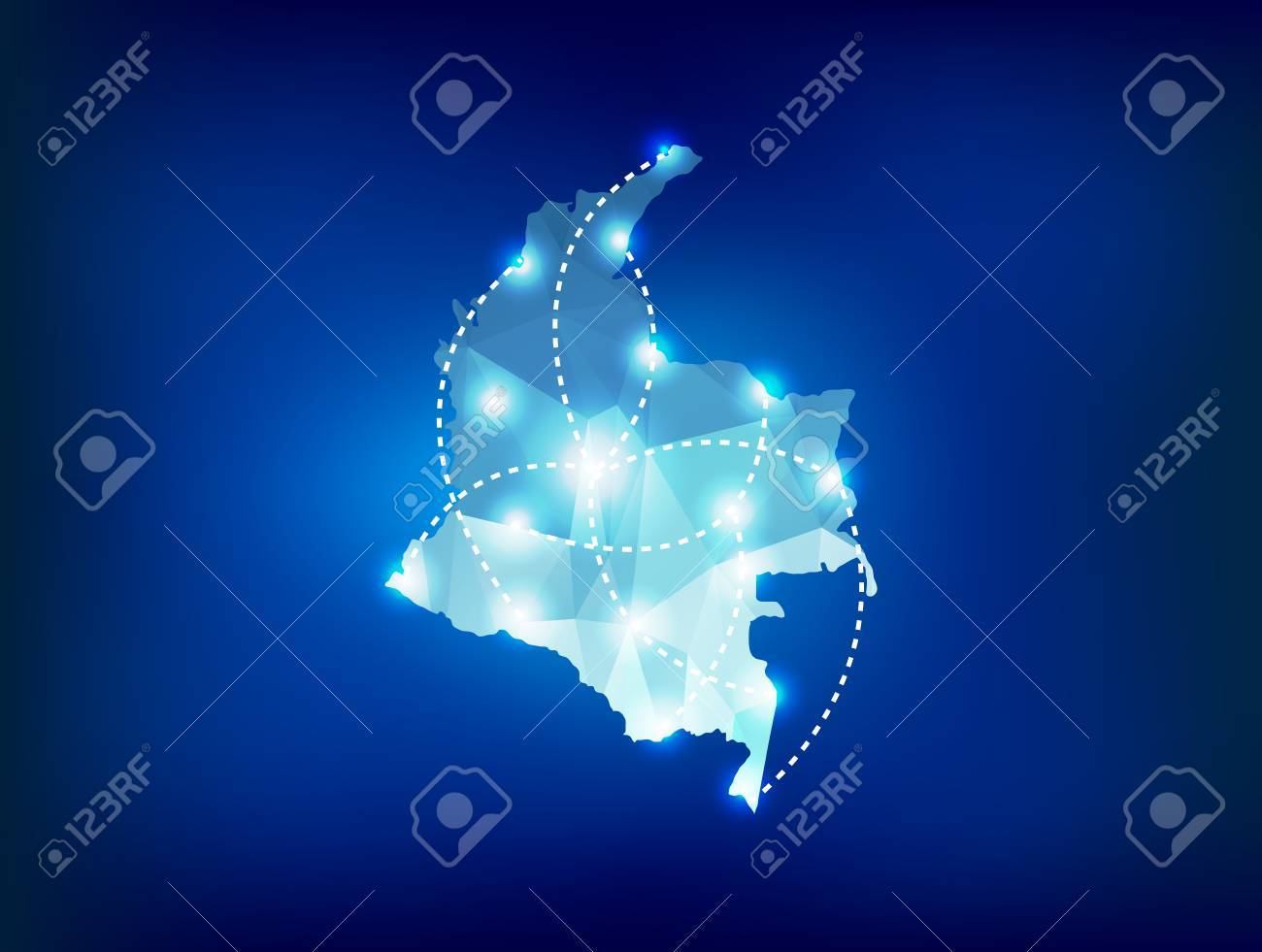 Colombia country map polygonal with spot lights places - 31325451