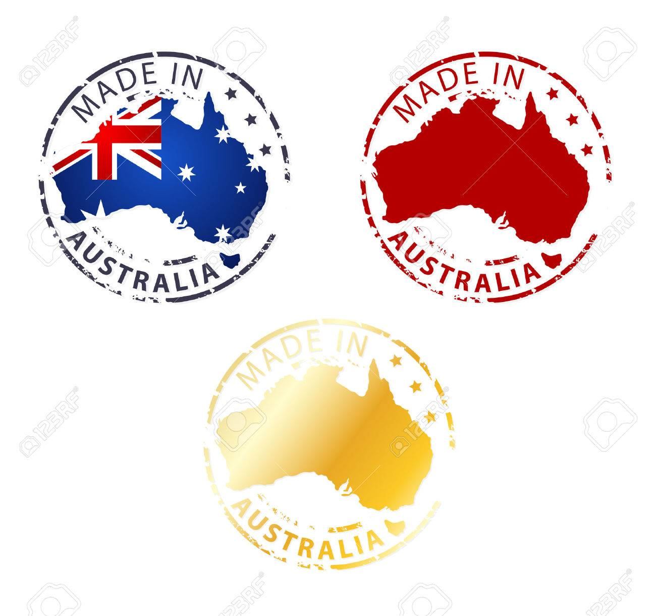 made in Australia stamp - ground authentic stamp with country map - 35636957