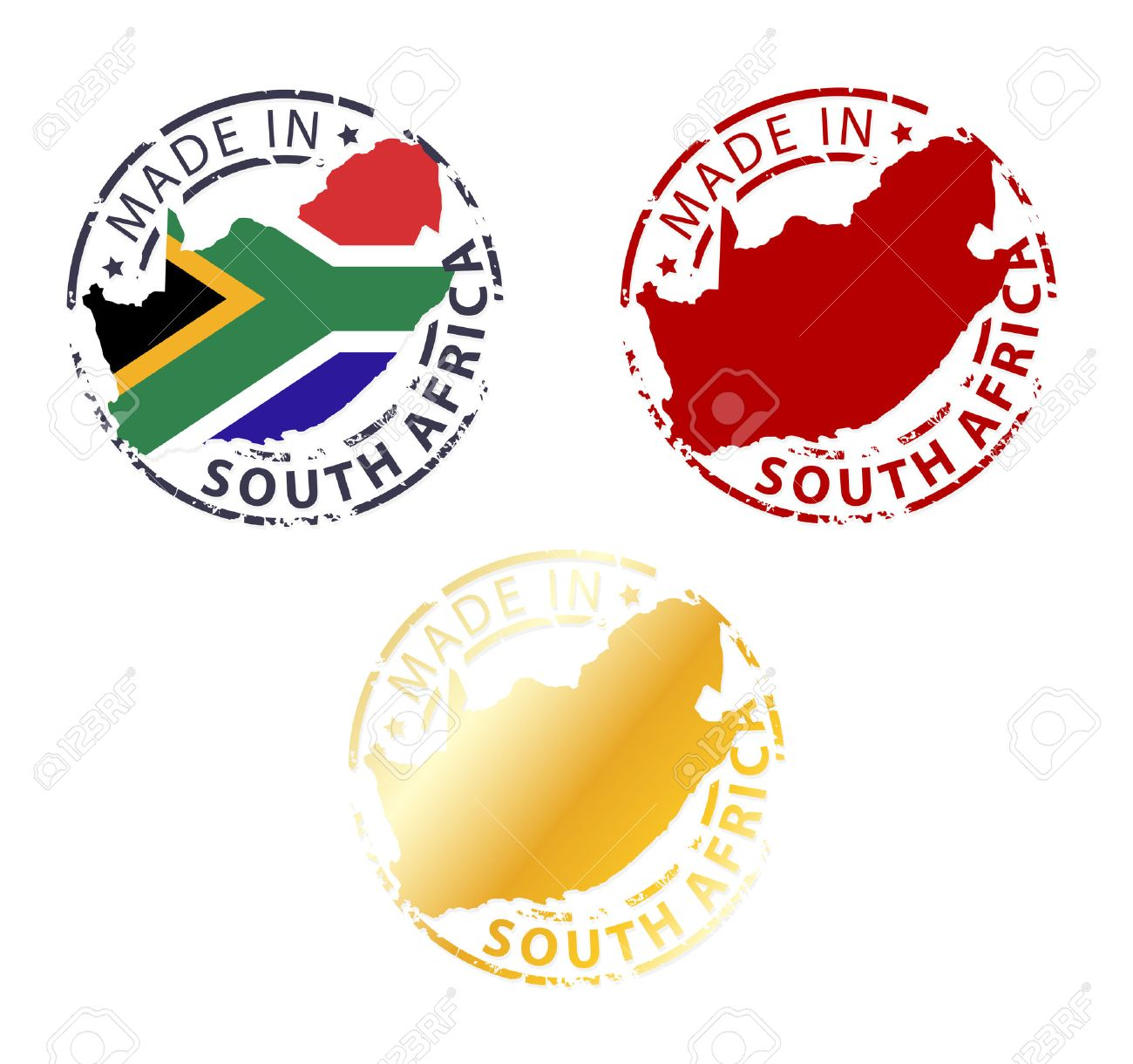 made in South Africa stamp - ground authentic stamp with country map - 35637370