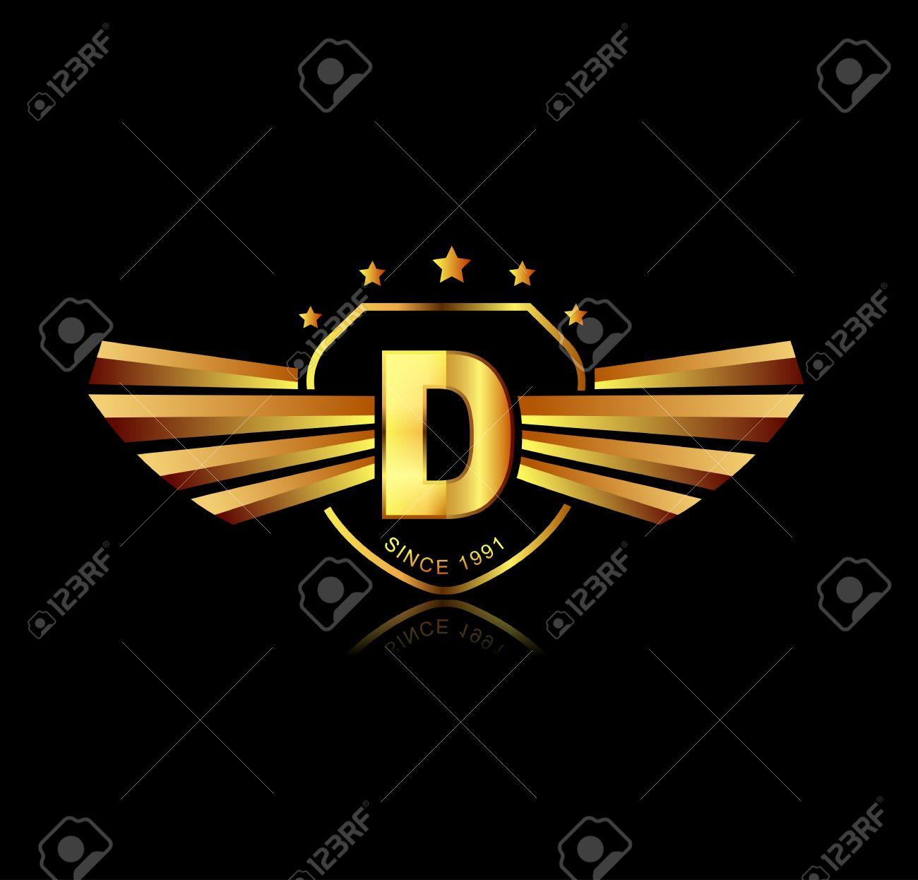 Letter D winged crests logo . Alphabet logotype design concept - 38759017