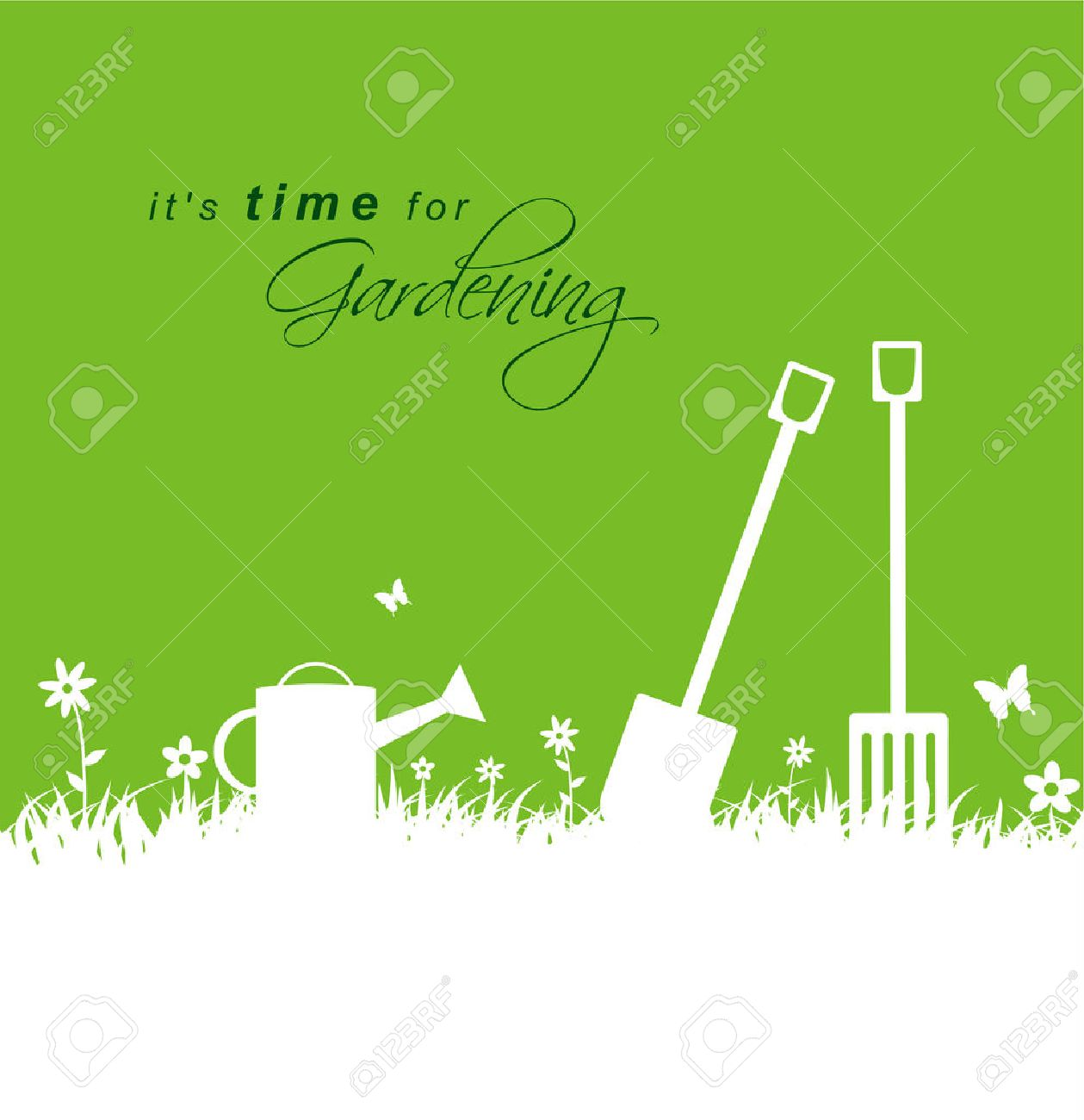 It\'s time for gardening .Spring gardening background with spade, rake and watering can - 39269054