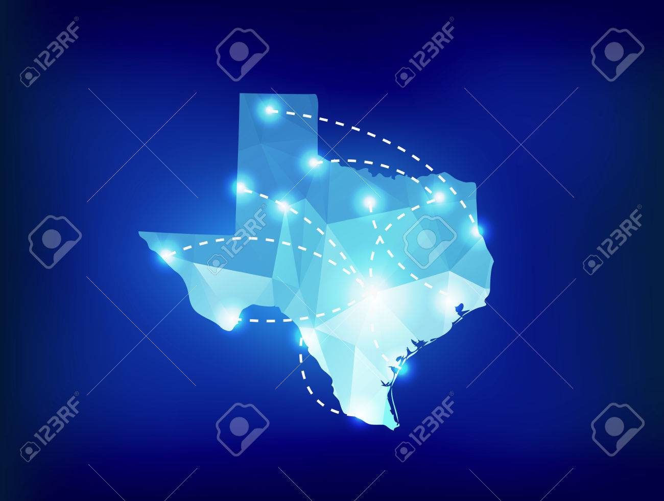 Texas state map polygonal with spotlights places - 43270160