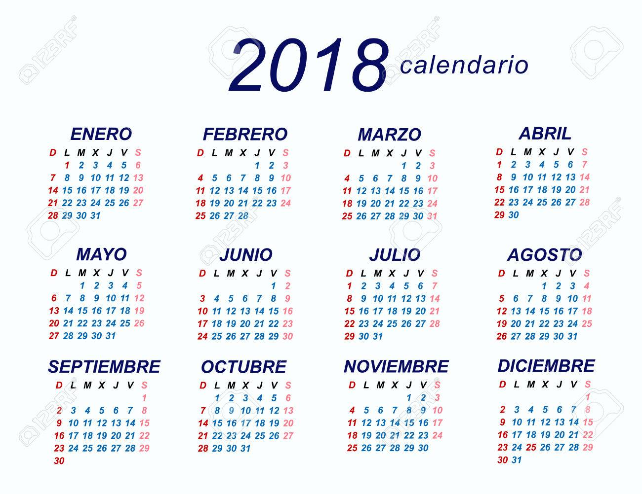2018 spanish calendar stock vector 70462386